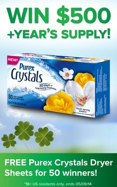 Repin if you're feeling lucky! Win $500 and a year's supply of Purex Crystals Dryer Sheets. #giveaway