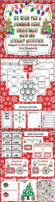 We Wish You A Common Core Christmas: Math and Literacy Activities 5th Grade - Keep your students motivated and engaged this Decemember. This unit is packed with reading, writing, and math activities that are aligned to the Common Core Standards! Also available for 3rd and 4th grades. $