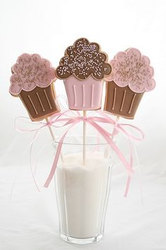 Pink cupcake cookie lollies by cakejournal, via Flickr