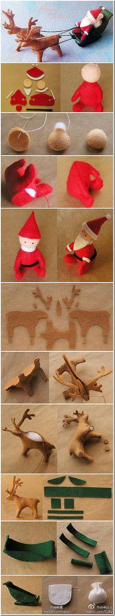 Christmas santa with deers diy