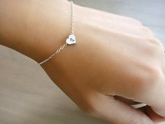 Custom Initial Silver Heart Bracelet  Hand stamped by Beazuness, $25.00