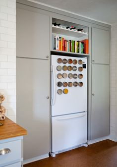 great idea for above the fridge storage.  our cabinets up there are just wasted space.