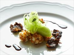 Celery Sorbet with Goat Cheese Mousse Balls