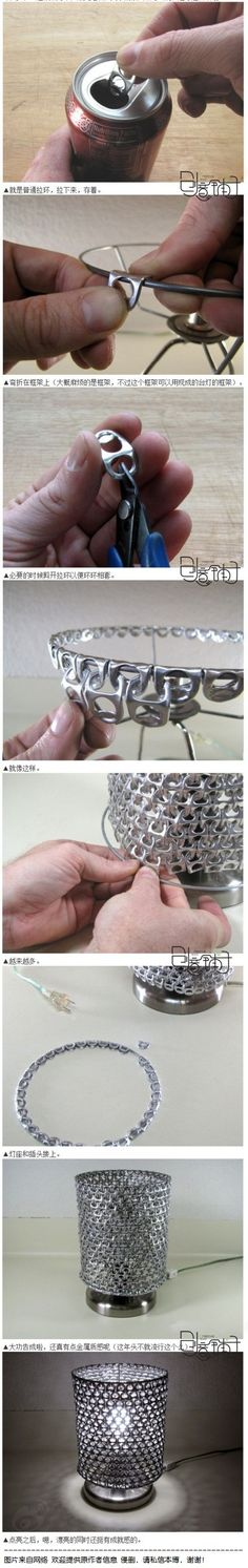 lamps, craft, soda tabs, pop tabs, chain mail, pop cans, soft drinks, aluminum cans, diy