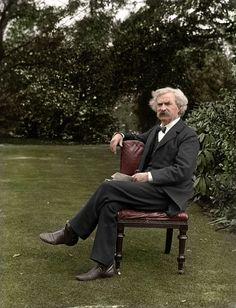 Mark Twain in the garden, circa 1900 - Imgur
