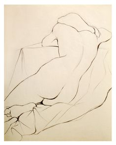 Charcoal Pencil Nude Drawing of a Woman Sleeping