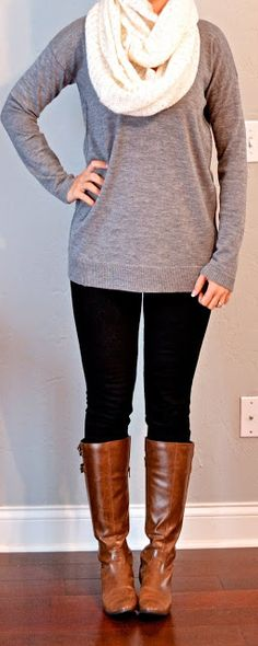 Grey tunic sweater - Ann Taylor, Black skinny jean - Target Mossimo, Brown boots - Alfani (Macy's brand), Cream sparkly infinity scarf - H & M