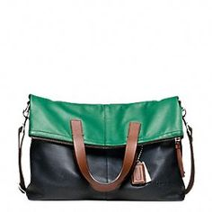 Coach :: Thompson Leather Colorblock Foldover Tote