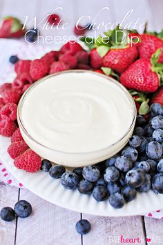 White Chocolate Cheesecake Fruit Dip ~ quick to make and quicker to disappear, this will become your new favorite fruit dip! | FiveHeartHome.com