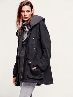 Free People Solid Knit Mixed Cargo Jacket