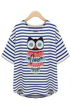 Cross Striped Beaded Owl Pirnt Tee OASAP.com #ROMWE