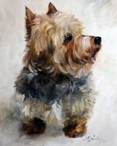 yorkie yorkshire terrier dog puppy art oil paintings by mary sparrow smith from hanging the moon
