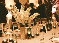 ball jars, galleries, white flower, masons, event design, event planning, weddings, floral event, mason jars