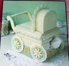 PLASTIC CANVAS PATTERNS LA #1528 (5) BABY TISSUE COVER CARRIAGE