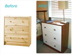 RAST dresser gets a DIY makeover with walnut stain and lake rock knobs on the Design By IKEA blog!