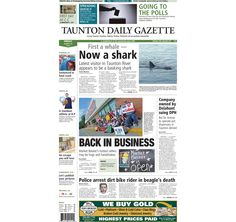 The front page of the Taunton Daily Gazette for Friday, Aug. 29, 2014. #shark