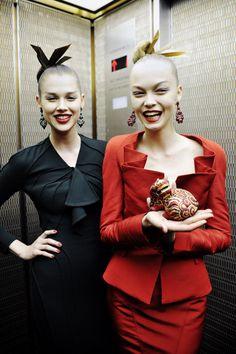 Models in the elevator at Zac Posen.  Photo by Nina Westervelt/MCV Photo. #refinery29 #beauty #nyfw #ninawestervelt