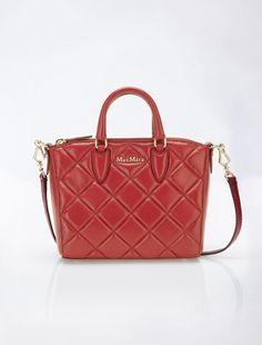 Small leather matelass satchel, dark red - Max Mara