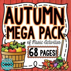 68 pages of Fall and Autumn themed music worksheets!  Music with Sara Bibee  http://www.teacherspayteachers.com/Product/Autumn-and-Fall-Music-Activities-68-Page-Mega-Pack-1426315