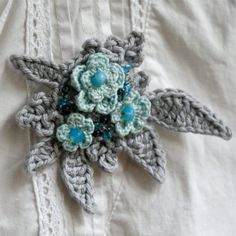 Flower Garden Crochet  Brooch No1  PDF by PatternsbyMarianneS