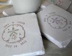 Sand Dollar Wedding Favor Coasters
