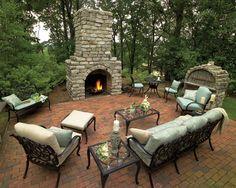 an outdoor fireplace