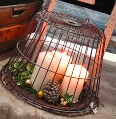 beautiful wire basket with candles