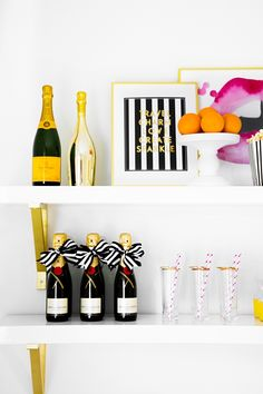 Three Ways to Style a Bar without a Bar Cart #theeverygirl // feature by Monika Dixon of The Doctor's Closet