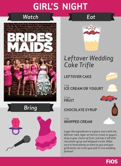 Make it a Girls Night with Bridesmaids! You can bring your best gal pals together for a little wedding cake trifle, karaoke, and fabulous bridesmaids dresses. #movienight