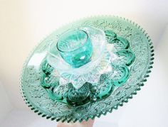 PRIVATE SALE Teal Garden Art Plate Glass Flower Yard by jarmfarm  AMANDA  ……………………………………………… By jarmfarm (etsy.com #78376056)