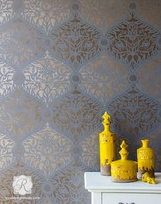 New Mughal Trellis Moroccan Wall Stencil from Royal Design Studio!