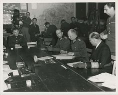 The signing of Germany's unconditional surrender, ending the European spoke of WWII. (May 7, 1945)