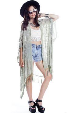 Medallion Traveler Velvet Burnout Tassel Kimono - Saltwater Gypsy #saltwatergypsy