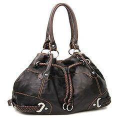 Brown Cinch Tie Stone Washed Handbag In Stock: $45