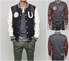 Men's Varsity Letterman Jacket with PU leather Sleeves. Now $51.94 (SRP 99.95)