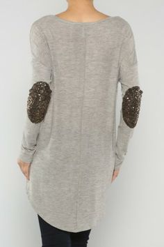 tunic top with sequin elbow patches. would look great with faux leather skinnies