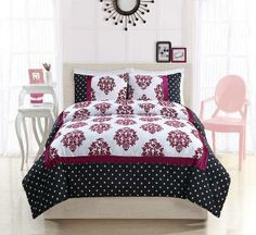 Franchesca Pink Dot Bedding (Pink and Black Polka Dot and Damask Bedding)  Classic and contemporary all at one time with this  striking bed that starts with a black base frame with  white...
