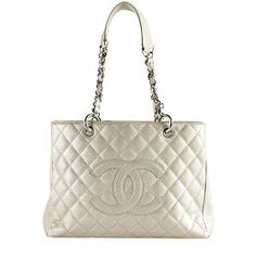 Great prices on used authentic luxury bags... Chanel Quilted Caviar Leather Grand Shopping Tote