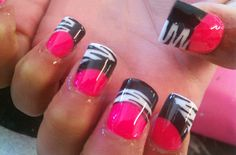 pink zebra, french manicures, pink nails, nail designs, black nails