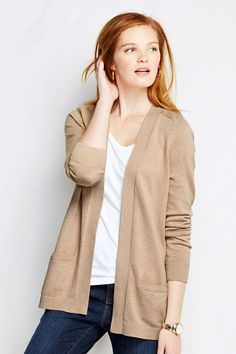 Women's Cotton Open V-neck Cardigan Sweater from Lands' End