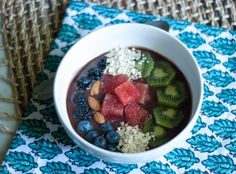Frozen Banana Acai bowl topped with watermelon, almonds, oats, kiwi and blueberries | 3 Boys Unprocessed