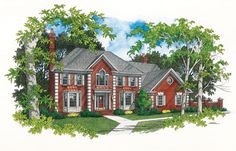 This 4 bedroom Colonial style home welcomes you with a grand two story staircase in the foyer.  House Plan # 101126.