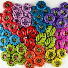Brilliant Blooms Buttons by 2GoodClaymates on Etsy
