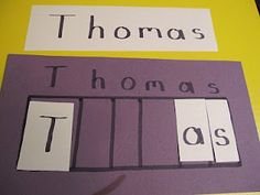 Create a name puzzle for your preschooler | Teach Preschool  Instead of gluing the letters down, laminate them for a busy bag!