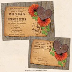 Rustic Wedding Country Wood Orange Gerber Daisy Heart Wedding Invitation and Reply Card. Great for a country and western wedding with a gerbera daisy theme.