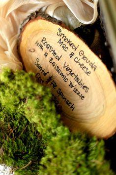 Rustic Wedding Menu On Wood Slices