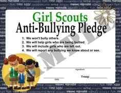 girl scout bullying, cub scouts, scout anti, anti bulli, antibulli, anti bullying, brownie girl scout leader, girl scout brownie badges, bulli pledg