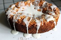 Glazed Cinnamon Coffee Cake is a super moist and delicious breakfast that's ready in just a few hours. This easy coffee cake recipe is made with biscuit baking mix, sugar, yogurt, and vanilla. It has a yummy streusel topping as well as a glaze.