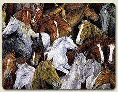 "11""x15""~ Horse Stampede ~ large glass cutting board . $19.99"