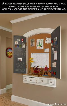 family calendar area in kitchen, with chalk board painted doors that close to hide it all
